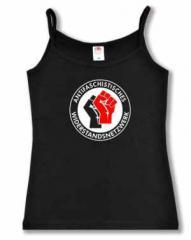 """Zum Top / Trägershirt """"Antifaschistisches Widerstandsnetzwerk - Fäuste (schwarz/rot)"""" für 16,50 € gehen."""