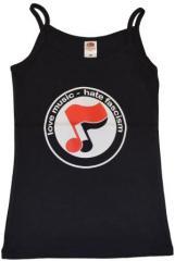 """Zum Top / Trägershirt """"love music - hate fascism (Noten)"""" für 12,00 € gehen."""