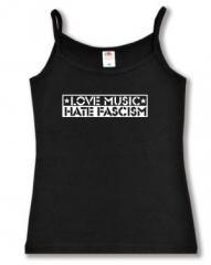 """Zum Top / Trägershirt """"Love Music Hate Fascism"""" für 12,00 € gehen."""