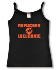 """Zum Top / Trägershirt """"Refugees welcome (Quer)"""" für 12,00 € gehen."""