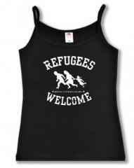 """Zum Top / Trägershirt """"Refugees welcome (weiß)"""" für 12,00 € gehen."""