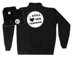 """Zum Sweat-Jacket """"... still loving feminism"""" für 27,00 € gehen."""