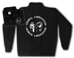 """Zum Sweat-Jacket """"Animal Liberation - Human Liberation"""" für 27,00 € gehen."""