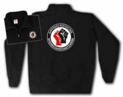 """Zum Sweat-Jacket """"Antifaschistisches Widerstandsnetzwerk - Fäuste (rot/schwarz)"""" für 28,27 € gehen."""