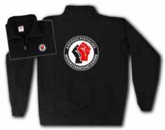 """Zum Sweat-Jacket """"Antifaschistisches Widerstandsnetzwerk - Fäuste (schwarz/rot)"""" für 29,00 € gehen."""