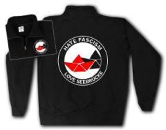 """Zum Sweat-Jacket """"Hate Fascism - Love Seebrücke"""" für 27,00 € gehen."""