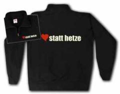 """Zum Sweat-Jacket """"herz statt hetze"""" für 27,00 € gehen."""