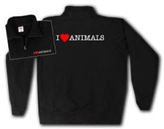 """Zum Sweat-Jacket """"I love Animals"""" für 26,32 € gehen."""