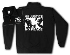 """Zum Sweat-Jacket """"No Justice - No Peace"""" für 26,32 € gehen."""