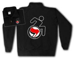 """Zum Sweat-Jacket """"RollifahrerIn Antifaschistische Aktion (rot/schwarz)"""" für 27,00 € gehen."""
