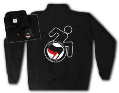 """Zum Sweat-Jacket """"RollifahrerIn Antifaschistische Aktion (schwarz/rot)"""" für 26,32 € gehen."""