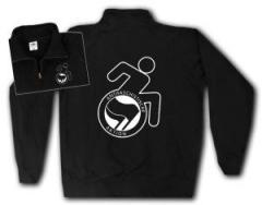 """Zum Sweat-Jacket """"RollifahrerIn Antifaschistische Aktion (schwarz/schwarz)"""" für 27,00 € gehen."""