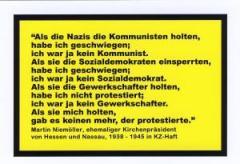 """Zur Postkarte """"Als die Nazis die Kommunisten holten..."""" von Martin Niemöller für 1,00 € gehen."""