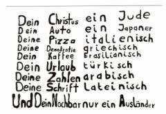 """Zur Postkarte """"Dein Christus ein Jude ... und Dein Nachbar nur ein Ausländer"""" für 1,00 € gehen."""