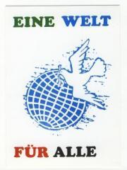 """Zur Postkarte """"Eine Welt für alle"""" für 1,00 € gehen."""