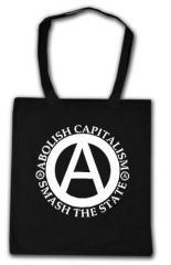 """Zur Baumwoll-Tragetasche """"Abolish Capitalism - Smash The State"""" für 3,90 € gehen."""