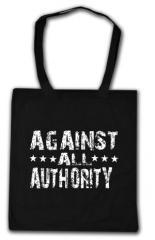 """Zur Baumwoll-Tragetasche """"Against all Authority"""" für 4,00 € gehen."""
