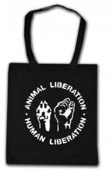 """Zur Baumwoll-Tragetasche """"Animal Liberation - Human Liberation"""" für 3,90 € gehen."""