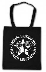 """Zur Baumwoll-Tragetasche """"Animal Liberation - Human Liberation (mit Stern)"""" für 3,90 € gehen."""