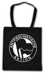 """Zur Baumwoll-Tragetasche """"Antifaschistische Aktion (1932, schwarz/schwarz)"""" für 4,00 € gehen."""