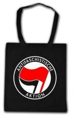 """Zur Baumwoll-Tragetasche """"Antifaschistische Aktion (rot/schwarz)"""" für 4,00 € gehen."""