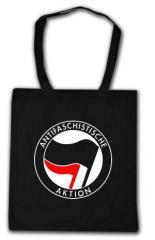 """Zur Baumwoll-Tragetasche """"Antifaschistische Aktion (schwarz/rot)"""" für 3,90 € gehen."""