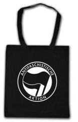 """Zur Baumwoll-Tragetasche """"Antifaschistische Aktion (schwarz/schwarz)"""" für 3,90 € gehen."""