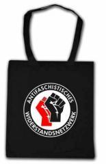 """Zur Baumwoll-Tragetasche """"Antifaschistisches Widerstandsnetzwerk - Fäuste (rot/schwarz)"""" für 6,00 € gehen."""