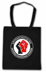 """Zur Baumwoll-Tragetasche """"Antifaschistisches Widerstandsnetzwerk - Fäuste (schwarz/rot)"""" für 6,00 € gehen."""
