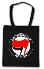 """Zur Baumwoll-Tragetasche """"Antifascist Action (rot/schwarz)"""" für 3,90 € gehen."""