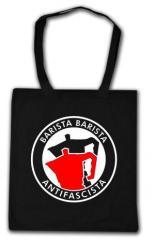 """Zur Baumwoll-Tragetasche """"Barista Barista Antifascista (Moka)"""" für 3,90 € gehen."""