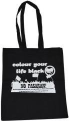 """Zur Baumwoll-Tragetasche """"Colour your life black"""" für 4,00 € gehen."""