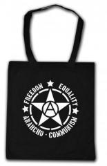"""Zur Baumwoll-Tragetasche """"Freedom - Equality - Anarcho - Communism"""" für 3,90 € gehen."""