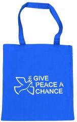 """Zur Baumwoll-Tragetasche """"Give Peace A Chance"""" für 4,00 € gehen."""