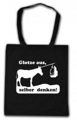 """Zur Baumwoll-Tragetasche """"Glotze aus, selber denken!"""" für 4,00 € gehen."""