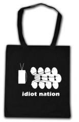 """Zur Baumwoll-Tragetasche """"Idiot Nation"""" für 4,00 € gehen."""