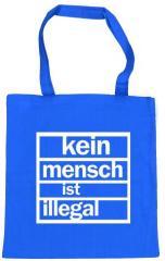 """Zur Baumwoll-Tragetasche """"Kein Mensch ist Illegal (weiß/blau)"""" für 4,00 € gehen."""