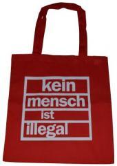 """Zur Baumwoll-Tragetasche """"Kein Mensch ist Illegal (weiß/rot)"""" für 3,90 € gehen."""