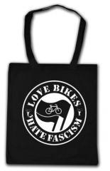 """Zur Baumwoll-Tragetasche """"Love Bikes Hate Fascism"""" für 4,00 € gehen."""