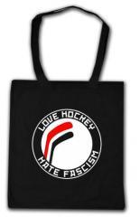 """Zur Baumwoll-Tragetasche """"Love Hockey Hate Fascism"""" für 3,90 € gehen."""