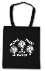 """Zur Baumwoll-Tragetasche """"More Trees - Less Paper"""" für 4,00 € gehen."""