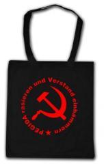 """Zur Baumwoll-Tragetasche """"Pegida rasieren und Verstand einhämmern"""" für 4,00 € gehen."""