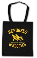 """Zur Baumwoll-Tragetasche """"Refugees Welcome"""" für 3,90 € gehen."""