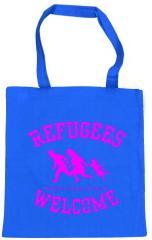 """Zur Baumwoll-Tragetasche """"Refugees welcome (blau, pinker Druck)"""" für 4,00 € gehen."""