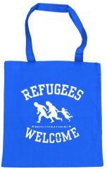 """Zur Baumwoll-Tragetasche """"Refugees welcome (blau, weißer Druck)"""" für 4,00 € gehen."""