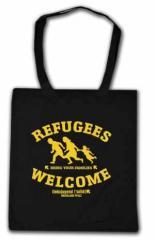 """Zur Baumwoll-Tragetasche """"Refugees welcome Linksjugend"""" für 7,00 € gehen."""