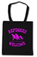 """Zur Baumwoll-Tragetasche """"Refugees welcome (pink)"""" für 4,00 € gehen."""