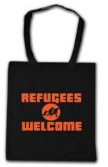 """Zur Baumwoll-Tragetasche """"Refugees welcome (Quer)"""" für 4,00 € gehen."""