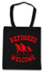 """Zur Baumwoll-Tragetasche """"Refugees welcome (rot)"""" für 4,00 € gehen."""