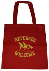 """Zur Baumwoll-Tragetasche """"Refugees welcome (rot, gelber Druck)"""" für 4,00 € gehen."""